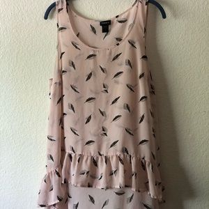 Pink feather tank top with a high/low hem